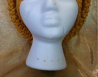 Gold slightly slouchy crochet hat