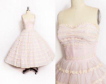 Vintage 1950s Dress - PINK Chiffon Floral Swiss Dot Trim Ruffled Full Skirt Party Wedding Gown 50s - Extra Small XS
