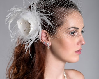 """2 items- Detachable birdcage veil and feather fascinator 12"""" or 9""""  (ivory or white)"""