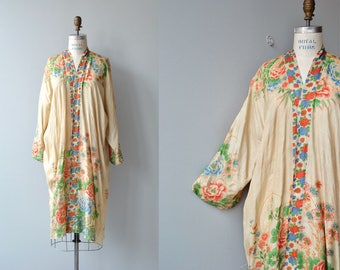 antique 1920s silk pongee robe | vintage silk floral 20s wrapper | 1920s silk robe