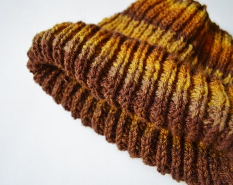 Tiger's Eye Navigator Beanie - Hand Knit Hat from Handspun Yarn in Tiger's Eye/Topaz Gold, Brown, Copper