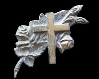 Antique French Solid Brass Rose and Cross Applique
