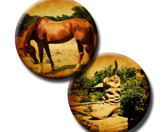 Scenic Country Living - 1.5 inch circles - (2) Digital collage sheets