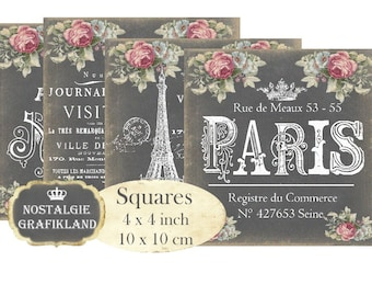 Chalkboard Paris French Coaster Eiffel Tower Squares 4 x 4 inch Instant Download digital collage sheet TG114