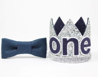 First Birthday Outfit Boy Crown   Baby Boy Birthday Party Hat   First Birthday Glitter Crown   1st Birthday Hat   Silver + Navy ONE