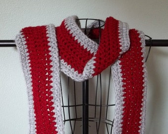 Red Gray Scarf, Wavy Crocheted Scarf Team Colors