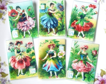 Edible Flower Fairy Ladies 18 Petal Flowers Wafer Rice Paper Vintage Images Cake Decoration Cupcake Cookie Topper Spring Wedding Favours RTD