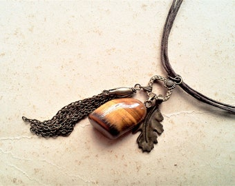 Boho necklace with amulet, Talisman, eye