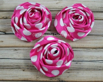 "Hot Pink Dot Satin Rolled Rosette Flowers - 2"" - Set of 3 - Hot Pink with White Polka Dots"