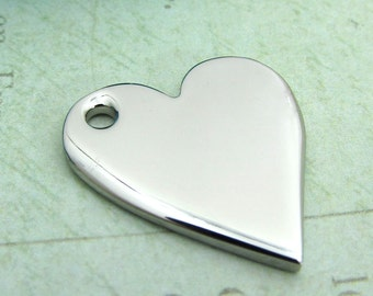 Heart Pendant, Stainless Steel Heart Jewelry Pendant, Set of 2 SST Findings 20x23x2mm heart charm - Stampable Heart Pendant  (025 )