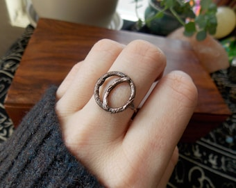 Crescent Moon Ring, Moon Phase Ring, Copper Electroformed Jewelry, Boho Chic Hippie Jewelry, Statement Ring, Christmas Gift, Wicca Wiccan