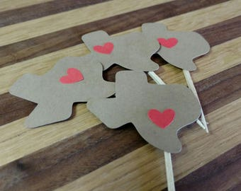 Texas Cupcake Toppers, texas toppers, state of texas toppers, texas party, texas theme, texas party decor, state of texas, texas