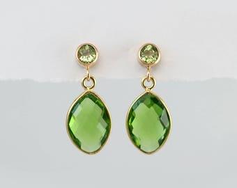 Peridot Earrings - August Birthstone Earrings - Gold Earrings - Small Drop Earrings - Post Earrings - Green Earrings