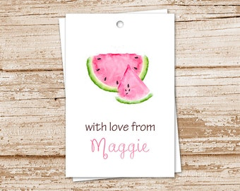 watermelon tags, gift tags . watercolor watermelon . personalized . summer fruit tags . PRINTABLE birthday gift tags . YOU PRINT