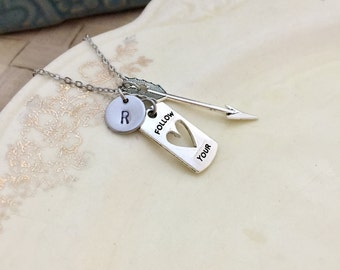 Arrow Necklace, Heart Necklace, Quote Necklace, Initial Necklace, Hand stamped Necklace, Gift for her, Handmade Jewelry
