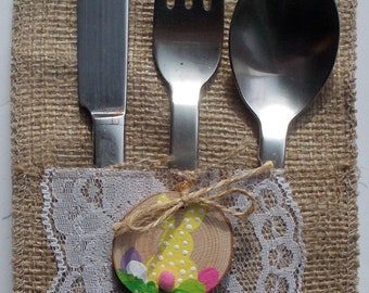 Burlap Cutlery Holders, Silverware Bags, Utensil Pockets, Burlap and White Lace, Rustic Wedding, Baby Shower, Tableware, Place Setting