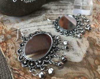 AG-18 Bohemian Boho German Silver Mirror Earrings FREE SHIPPING