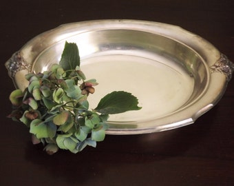 Silver Serving Bowl, Oval Silver Plate, Ornate Flower Wilcox International Silver 7112 Spring Garden Tray