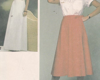 1970s Wrap Skirt Jiffy sewing pattern Simplicity 8860 Size small 10-12 front wrap skirt in 2 lengths