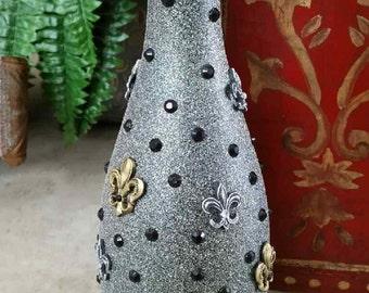 Silver&Gold Fleur de lis Bottle