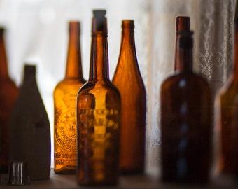 Whiskey Bottles - Window Light Through Bourbon Bottles - Vintage Bottles - 8x10 Wall Art - Brown Amber