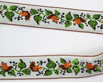 "Bird Ribbon, Jacquard Ribbon, Vintage Ribbon,  Sewing Trim, Tyrolean Trim, Folkloric Ribbon,  Jacquard Trim, Woven Trim, 3/4"" wide, 3 Yards"