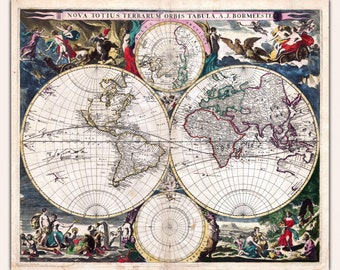 Map of the World; Spectacular Antique Map by Bormeester, 1685