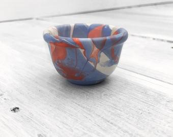 Orange and Blue Modern Ceramic Mini Bowl