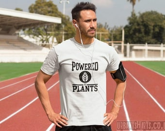 POWERED by PLANTS T-shirt - Vegan Power / Premium Quality ! - Made in London / Fast Delivery to the USA , Canada , Australia & Europe !