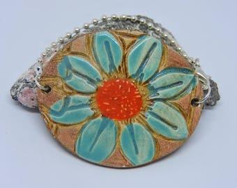 Flower Bracelet, Ceramic, Ceramic Flower, Daisy, Cuff