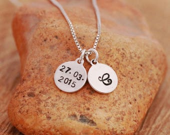 Sterling Silver Date Necklace, Sterling Silver Disc Necklace, Initial Necklace, Silver Initial Necklace, Personalised, Gift for Her
