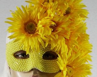 Summer Salutations!  Vibrant Yellow Gerbera Daisies & Pearls Masquerade Mask