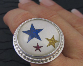 glitter stars solid sterling silver statement ring. sterling stars ring. stars band ring. size 7.5 artisan handmade ooak ring.