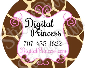 PERSONALIZED STICKERS - Custom Adorable Giraffe Design Personalized Labels - Round Gloss Labels