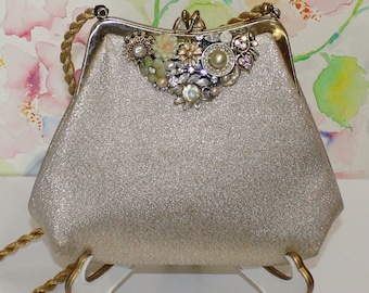 Sweet, Jeweled Vintage, Gold Lame Purse with Gold Rope Strap, OOAK