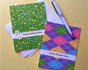 5 Birthday Note Cards, Scalloped Edging, Hand Crafted, Stationery, Happy Birthday