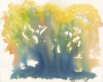 Abstract Tree Art Watercolor Original Painting by Cathy Hillegas, 9x11art, yellow, green, orange, blue, white, abstract painting, fantasy pa