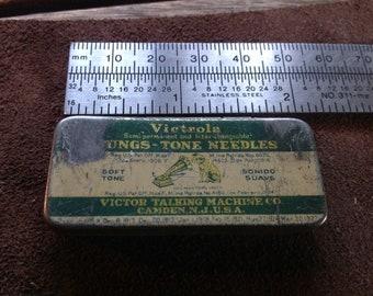 Vintage  VICTOR VICTROLA TUNGS Tone Phonograph Needle Tin (8 Needles)