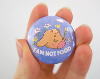 "FAM NOT FOOD Flower Cow Pinback Button 1.5"" / 1.5 in."
