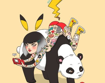 A4 Pikachu Tattooed Lady Print