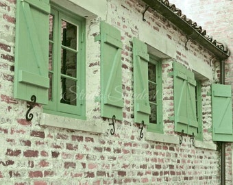 "Window Photography, Cottage Architecture, Shutter Art, Rustic Decor, Green Shutter Print, Country Brick Farmhouse Photo- ""Green Shutters"""