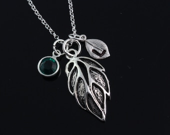 Leaf Necklace, Personalized leaf Necklace, 925 Sterling silver leaf charm and chain, sterling silver leaf choose initial and birthstone 5095