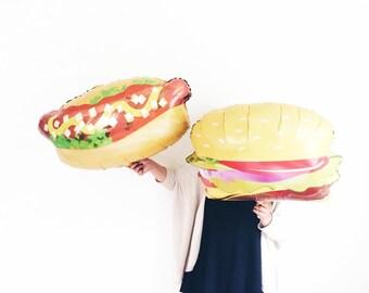 Hamburger OR Hot Dog Helium jumbo balloon - summer bbq