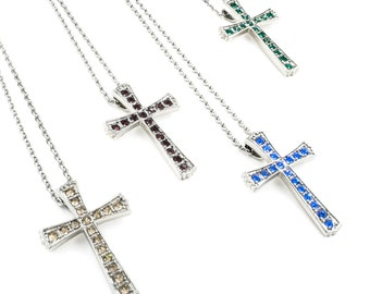 Crystal Cross Necklace, Birthstone Cross, Religious Jewelry, Cross Pendant, Crystal Necklace, Birthstone Color, Choose your own Birthstone