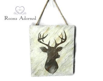 Deer Head Silhouette on Wood Frame
