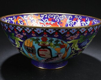 Large Chinese Enamel Cloisonne Bowl with Bat-framing