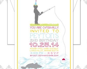 Fishing Birthday Birthday Invite, Little Boy Birthday Invitation, Fishing Birthday Party Invite, Fish Invite, Girl Fishing Invitation