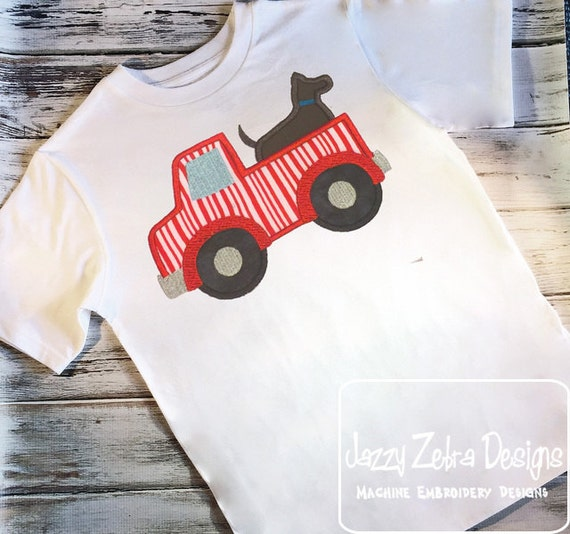 Truck with Dog Appliqué Embroidery Design - truck appliqué design - boy appliqué design - dog appliqué design