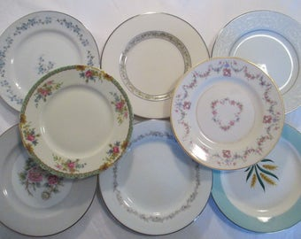 Vintage Mismatched China Dessert Plates, Bread Plates for Wedding, Tea Party, Bridal Luncheon, Tea Plates, Cake Plates - Set of 8
