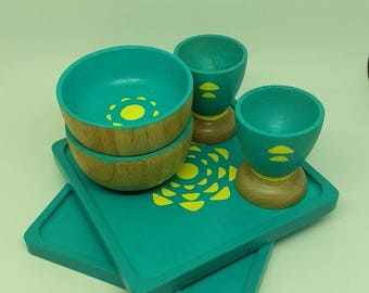 Wood Dish Set in Teal - Play Dishes